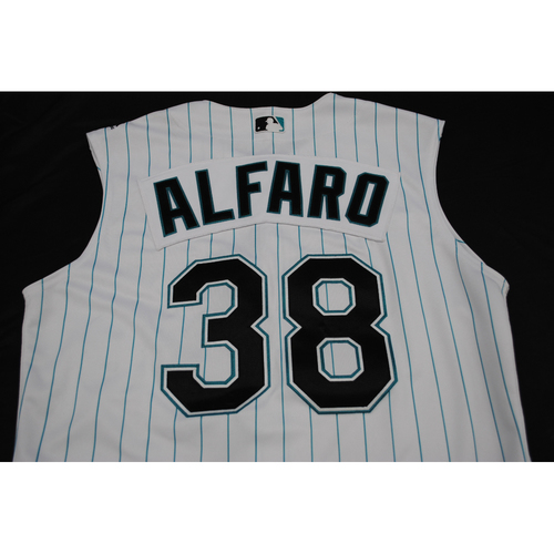 Photo of Game-Used 2019 Throwback Florida Marlins Jersey: Jorge Alfaro - Size: 44 (Used July 26-28, 2019)