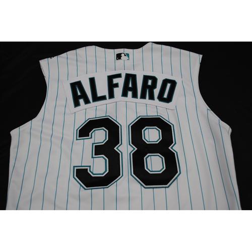 Game-Used 2019 Throwback Florida Marlins Jersey: Jorge Alfaro - Size: 44 (Used July 26-28, 2019)