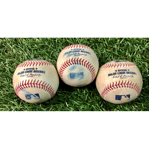Photo of Game Used Baseball Package (3): Travis Shaw, Bo Bichette and Danny Jansen - July 25-26, 2020 v ATL