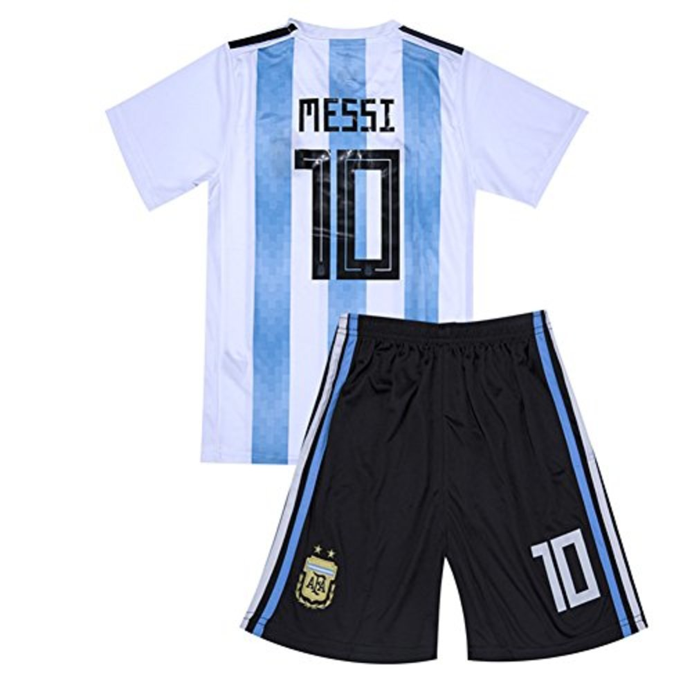 Photo of RussiaJRS 10 Messi Jersey 2018 Russia World Cup Argentina Home Soccer Jersey Youth/Kids Jersey Shorts White Size 7