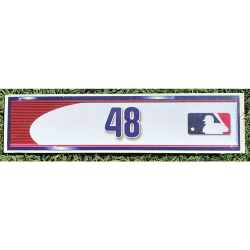 Photo of Jacob deGrom #48 - Game Used Locker Nameplate - Mets Clinch Wild Card Berth - 10/1/16