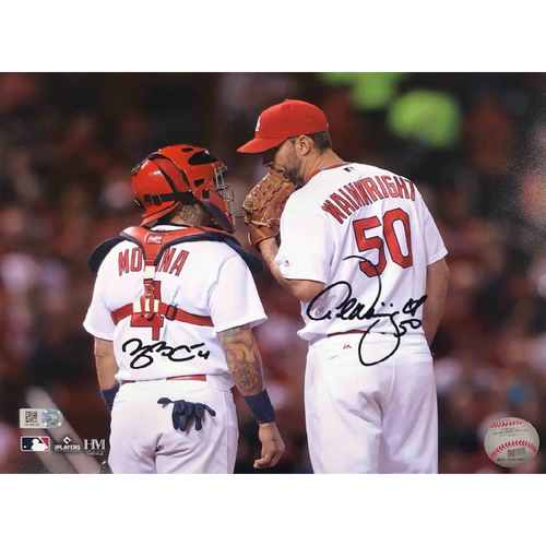 Photo of Cardinals Authentics: Yadier Molina and Adam Wainwright Meeting Autographed Photo