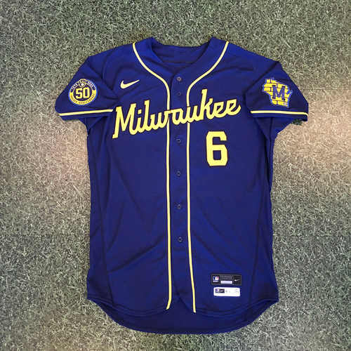 Photo of Lorenzo Cain 2020 Team-Issued Road Navy Jersey
