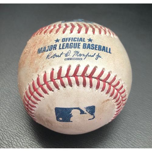 Photo of Game Used Baseball: Pitcher: Logan Gilbert; Batter: Giancarlo Stanton (Double). Top 2nd (NYY @ SEA -7/8/21)