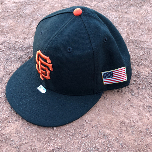 Photo of San Francisco Giants - 2017 Game-Used 9/11 Cap Worn by #6 Jarrett Parker - Size 7 1/2