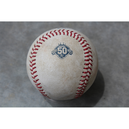 Photo of Game Used Baseball: Ehire Adrianza 129th Career Hit (MIN at KC - 5/29/18)