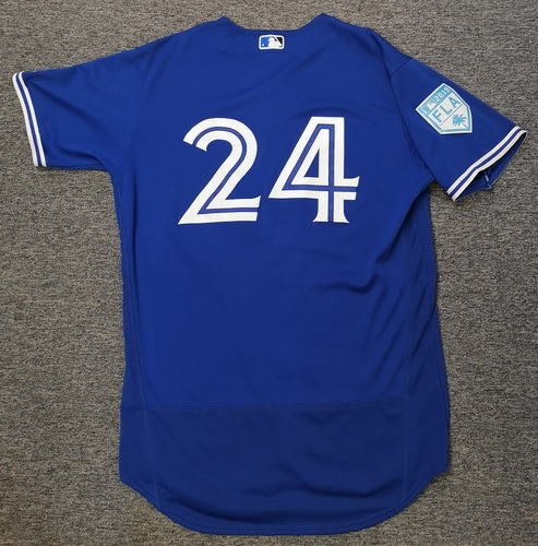 Photo of Authenticated Game Used 2019 Spring Training Jersey - #24 Danny Barnes (Mar 26: 2 IP, 0 ER, 1 BB, 3 Ks). Size 46