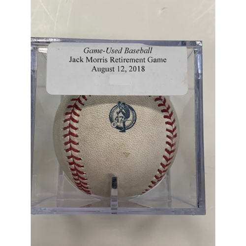 Photo of Game-Used Baseball: Jack Morris' Number Retirement Game