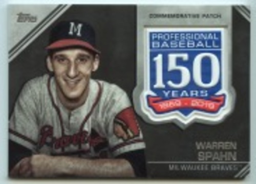 Photo of 2019 Topps Update 150th Anniversary Manufactured Patches #AMPWSP Warren Spahn