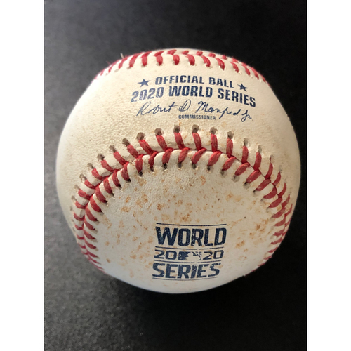 Photo of Game-Used Baseball - 2020 World Series - Tampa Bay Rays vs. Los Angeles Dodgers - Game 2 - Pitcher: Dustin May, Batter: Manuel Margot (Single, Hit Launch Speed: 109.5 MPH) - Top 4