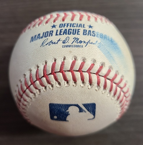 Photo of Authenticated Game Used Baseball: Foul by Cedric Mullins against Shun Yamaguchi (Sep 27, 2020 vs BAL). Top 5. Game played in Buffalo. Final Game of 2020 Regular Season.