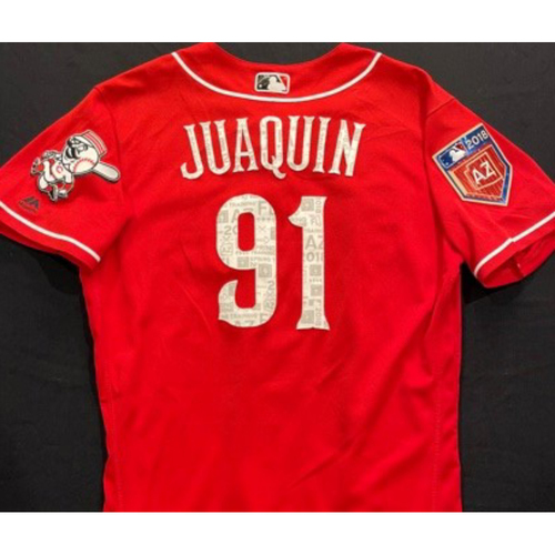Photo of JUAQUIN -- Authentic Reds Jersey -- $1 Jersey Auction -- $5 Shipping -- Size Unknown (Not MLB Authenticated)