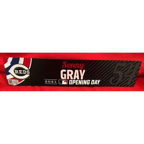 Photo of Sonny Gray -- 2021 Opening Day Locker Tag -- Game-Used -- Cardinals vs. Reds on 4/1/21