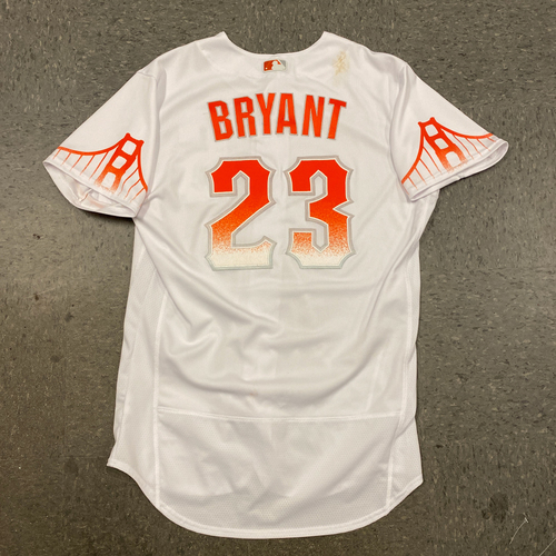 Photo of 2021 Game Used City Connect Jersey worn by #23 Kris Bryant on 9/14 vs SD - 1-3, BB, 2B - 200th Career Double - Size 46