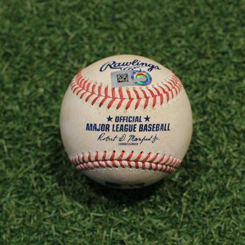 Photo of Game-Used Baseball: Mark Canha 514th Career Hit (OAK@KC 9/15/21)