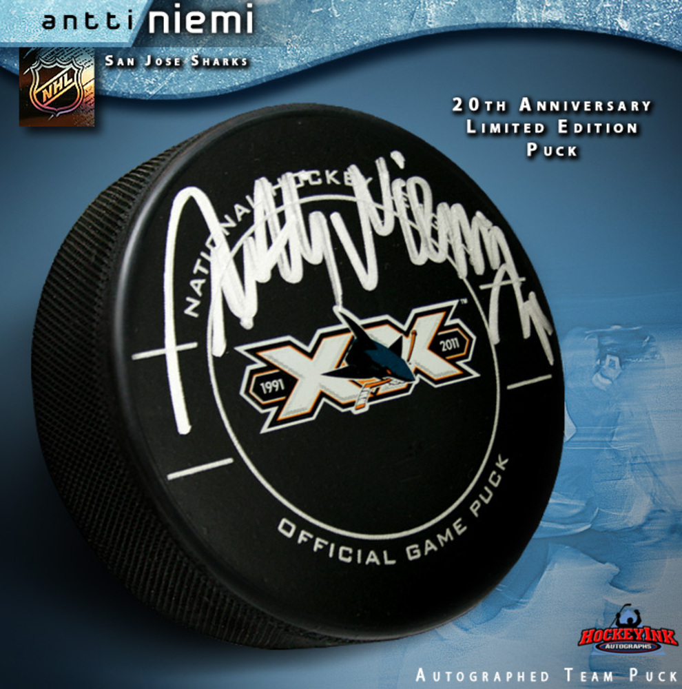 ANTTI NIEMI Signed Official 20th Anniversary Game Puck - San Jose Sharks