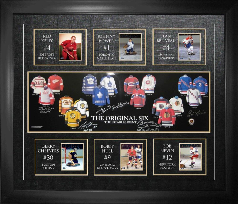 Bower,Cheevers,Kelly,Beliveau,Hull,Nevin Signed Orig.6 Jerseys Framed Print