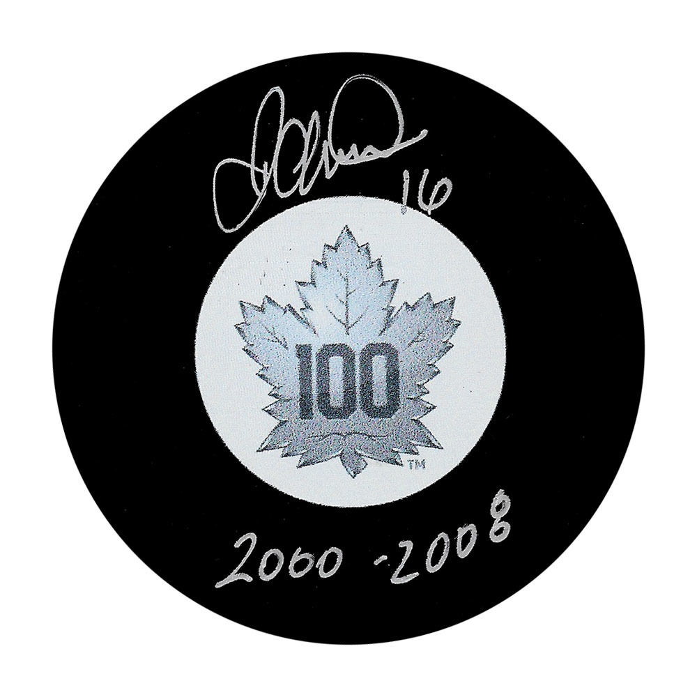 Darcy Tucker Autographed Toronto Maple Leafs Centennial Puck w/2000-2008 Inscription
