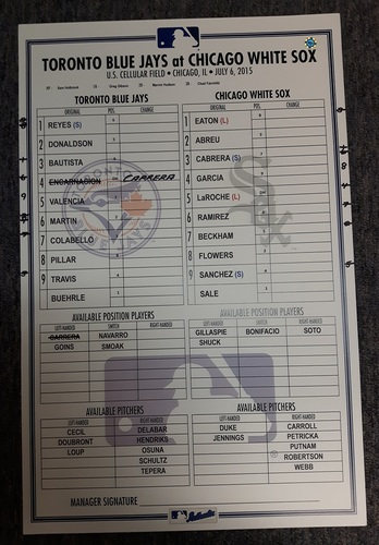 Photo of Authenticated Game Used Line-Up Card - July 6, 2015 vs Chicago White Sox. Chris Sale pitched his 1st Complete Game of 2015.