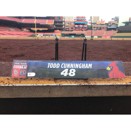 Photo of Cardinals Authentics: Todd Cunningham Team-Issued Spring Training Locker Tag