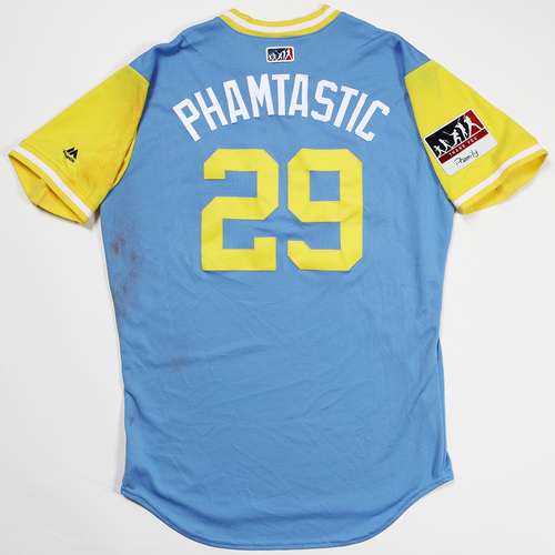 "Photo of Tommy ""Phamtastic"" Pham Tampa Bay Rays Game-Used 2018 Players' Weekend Jersey"