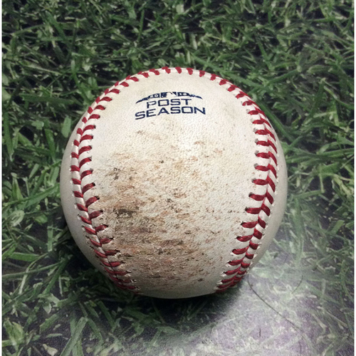 Photo of Game-Used Baseball NLCS Game 2 LAD@MIL 10/13/18 - Corbin Burnes - Manny Machado: Foul