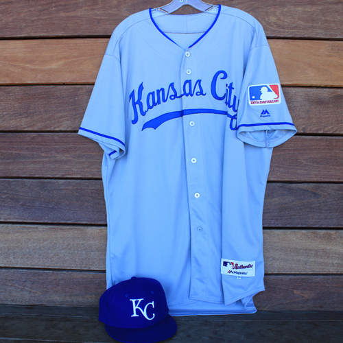 Photo of Game-Used 1969 Throwback Jersey and Cap: Tim Hill (Jersey Size 48 - KC @ WSH  - 7/6/19)