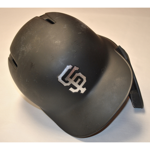 "Photo of Buster ""HUM BUSS"" Posey San Francisco Giants Game-Used 2019 Players' Weekend Helmet"