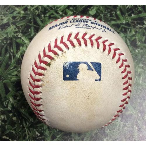 Photo of Game-Used Baseball SEA@MIL 06/26/19 - Wade LeBlanc - Hernan Perez: Single