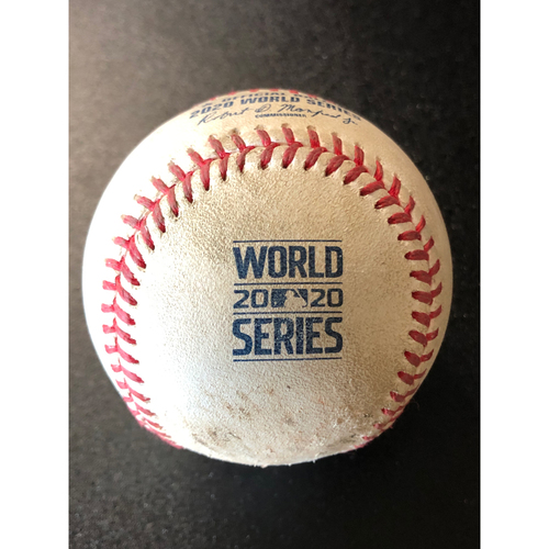 Photo of Game-Used Baseball - 2020 World Series - Tampa Bay Rays vs. Los Angeles Dodgers - Game 2 - Pitcher: Dustin May, Batter: Kevin Kiermaier (Strike Out) - Top 5