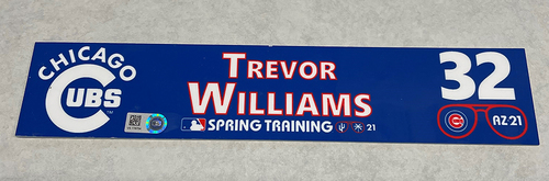 Photo of Trevor Williams 2021 Spring Training Locker Nameplate