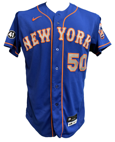 Photo of Miguel Castro #50 - Team Issued Blue Alt. Road Jersey with Seaver Patch - 2020 Season