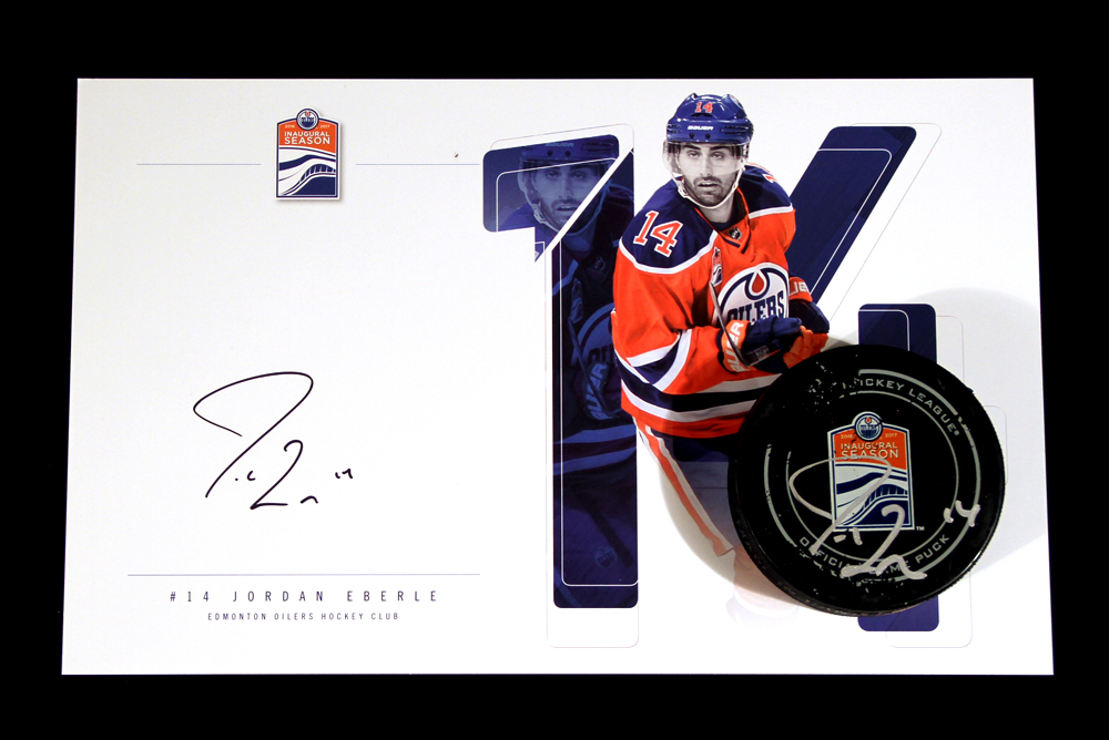 Jordan Eberle #14 - Autographed 154th NHL Career Regular Season Edmonton Oilers Goal Puck Scored On January 18th, 2017 vs the Florida Panthers - Includes Autographed Oversize Player Card!