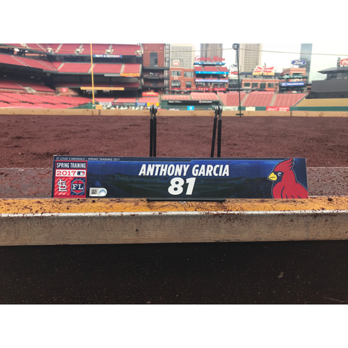 Photo of Cardinals Authentics: Anthony Garcia Team-Issued Spring Training Locker Tag