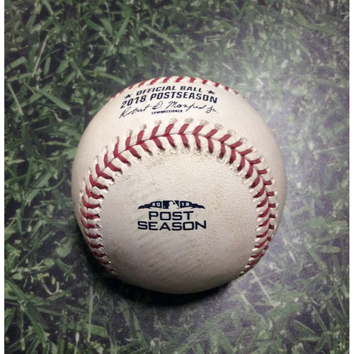 Photo of Game-Used Baseball NLDS Game 2 COL@MIL 10/05/18 - Seung Hwan Oh - Jesus Aguilar: Foul Ball
