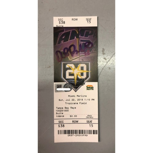 Photo of Autographed Game Ticket: Daniel Robertson Walk-Off Grand Slam - July, 22, 2018 v MIA