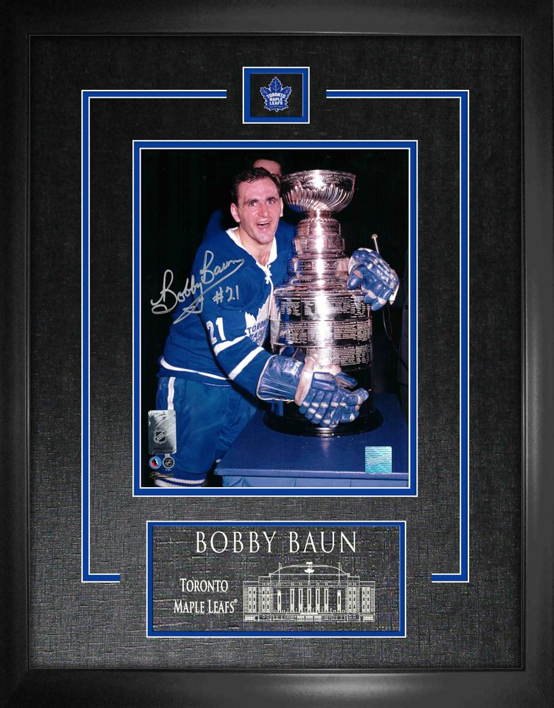 Bobby Baun Signed 8x10 Etched Mat Leafs Hugging Cup