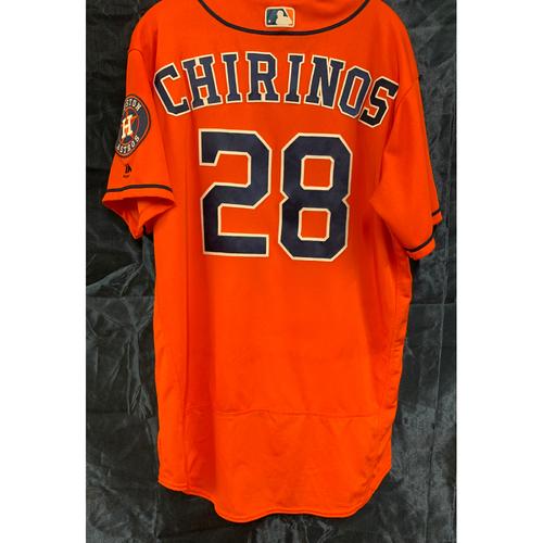 Photo of 2019 Game-Used Orange Alt Robinson Chirinos Jersey - Size 46