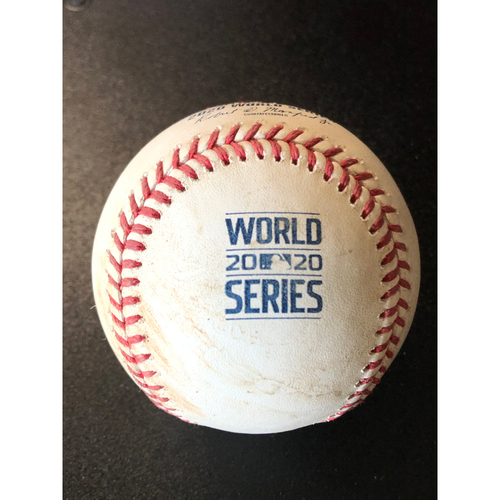 Photo of Game-Used Baseball - 2020 World Series - Tampa Bay Rays vs. Los Angeles Dodgers - Game 2 - Pitcher: Dustin May, Batter: Austin Meadows (Single, Hit Launch Speed: 108.4 MPH) - Top 5