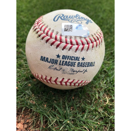 Photo of Game-Used Baseball: KLUBER NO-HITTER GAME - 5/19/2021 - NYY @ TEX - Corey Kluber Strikes Out Nick Solak For 2nd of 9 Strikeouts Recorded That Night - Bottom 1