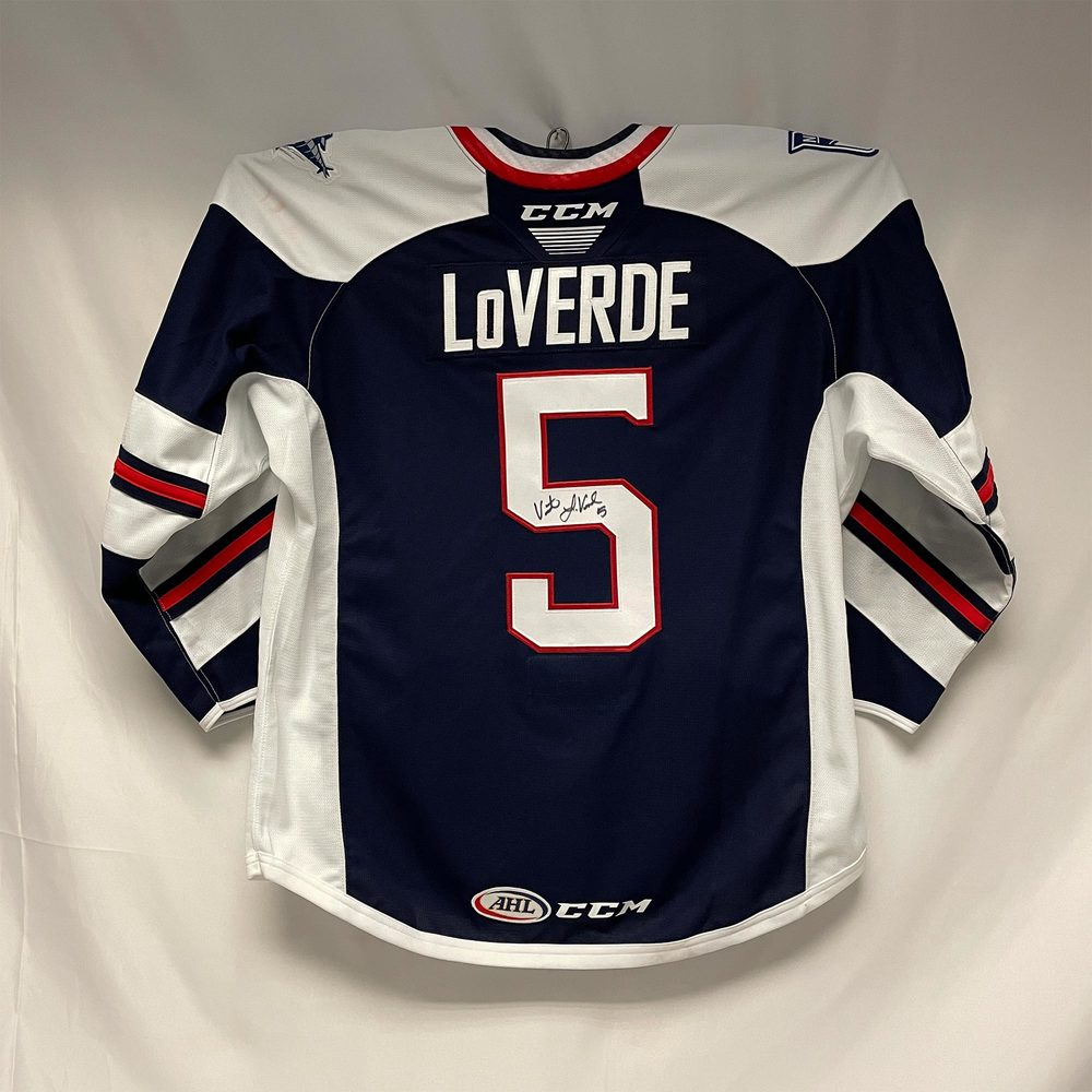 2020-21 Hartford Wolf Pack Captain's Jersey Worn and Signed by #5 Vincent LoVerde