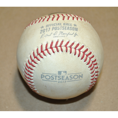 Photo of Game-Used Baseball - 2017 NLDS Game 5 - Chicago Cubs vs. Washington Nationals - Batter: Jason Heyward, Pitcher: Gio Gonzalez, 2 Pitches (2 Balls), Top 3