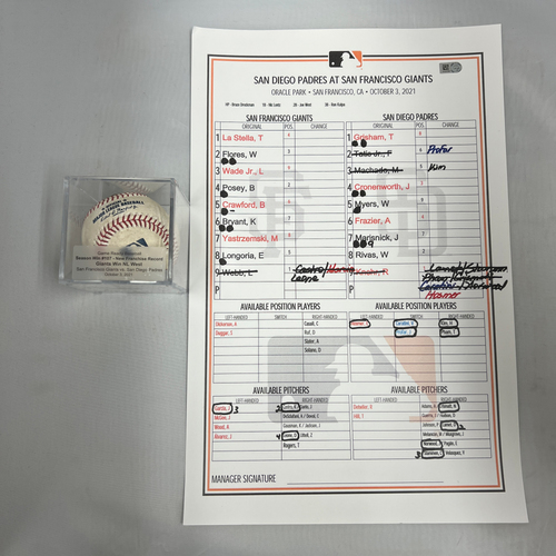 Photo of 2021 NL West Champions Bundle - Includes Game Ready Baseball & Replica Lineup Card from 10/3/21 vs. SD - Giants Win NL West & Set Franchise Win Record with 107 Wins