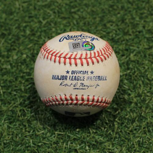 Photo of Game-Used Baseball: Josh Harrison 949th Career Hit, 343rd & 344th Career RBIs (OAK@KC 9/15/21)
