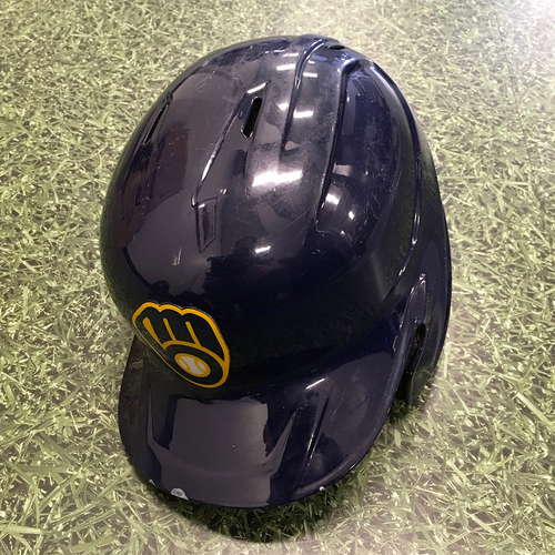 Photo of Lorenzo Cain 2021 Game-Used Batting Helmet (04/01/21 Opening Day & 09/18/21 Postseason Clinch Game)
