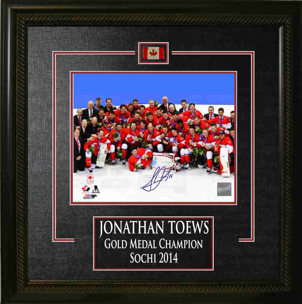 Jonathan Toews - Signed 8x10 Etched Mat Team Canada 2014 Olympics - Team Celebration