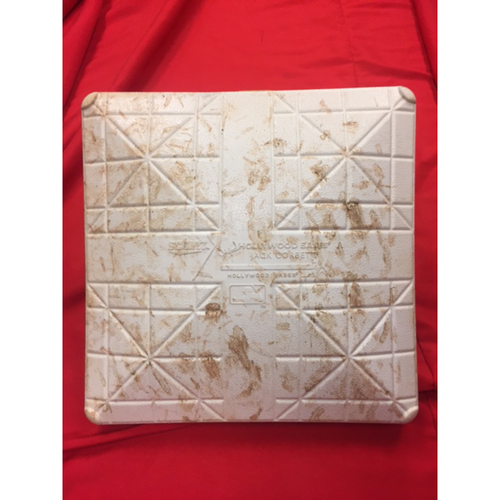 Joey Votto -- Game-Used Base -- First Base Used During Votto's 1500th Career Hit, a Sixth-Inning Home Run -- Reds @ Rockies on July 3, 2017