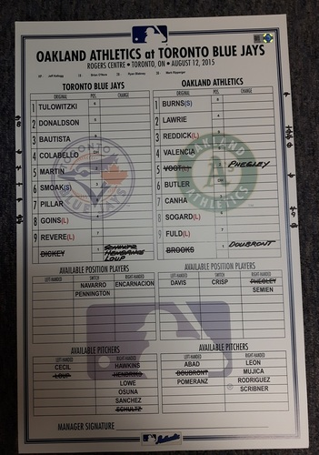 Photo of Authenticated Game Used Line-Up Card - August 12, 2015 vs Oakland Athletics. Blue Jays moved to 1st in AL East with 10th Straight Win.