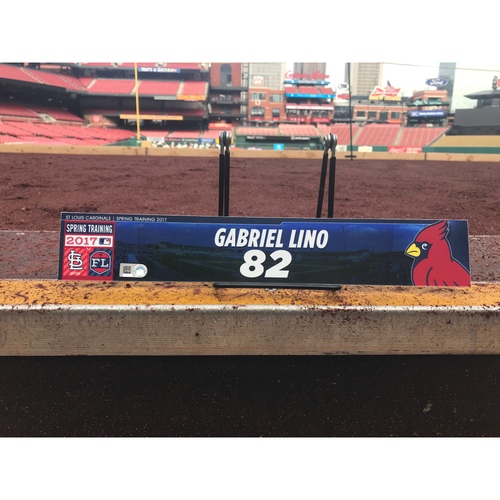 Photo of Cardinals Authentics: Gabriel Lino Team-Issued Spring Training Locker Tag