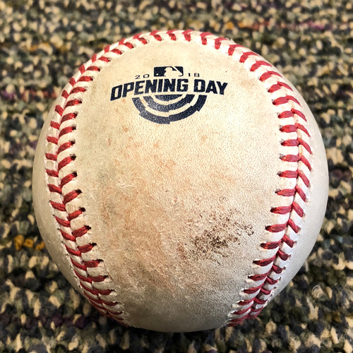 Photo of San Francisco Giants - 2018 Opening Day Game Used Baseball - 1st Pitch at AT&T Park of 2018 (Also, Dee Gordon Single)